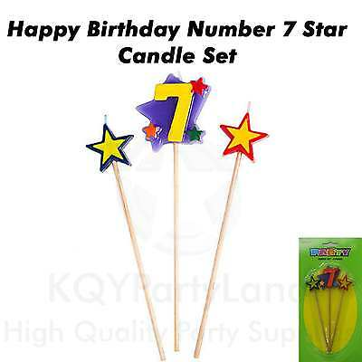 3 Piece Age 7 Birthday Candle Set Stick Star Candle Birthday Party Cake Topper