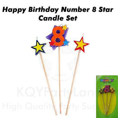 3 Piece Age 8 Birthday Candle Set Stick Star Candle Birthday Party Cake Topper