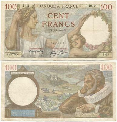 "1942 ""VICHY"" GOVERNMENT of FRANCE Big Oversize 100 FRANC Note WORLD WAR II Issue"