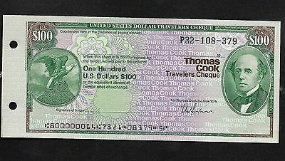 US Dollars Travelers Cheque. Thomas Cook.. $100.00 UNCASHED P32-108-379 19??