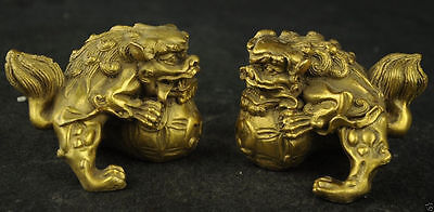 Ancient Chinese manual brass carved dragon lion rare lucky couple