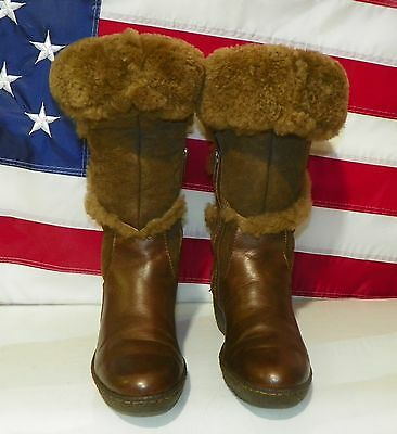 Womens Born Brown Leather & Shearing Winter Boots Size 6