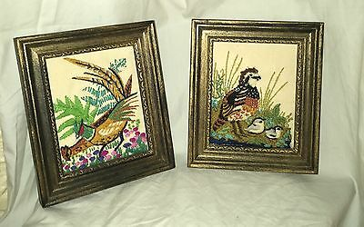 VINTAGE PAIR SMALL EMBROIDERED BIRD ART Nice!
