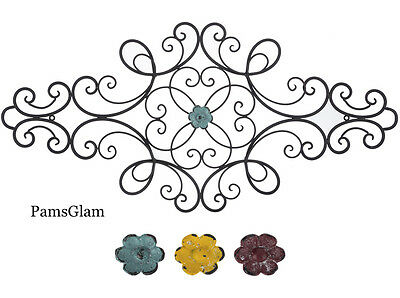 Black Metal Scroll Wall Decor With Interchangeable Flower