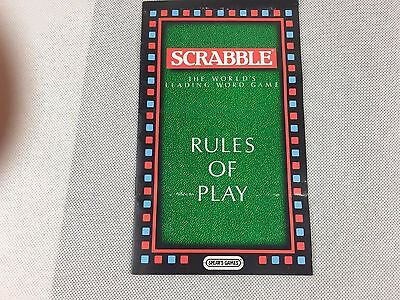 Scrabble - Rules of Play - Genuine Instruction Book - Booklet - Used