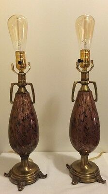Vintage Excelsior Murano Glass 3 Way Table Lamps Black Copper Aventurine