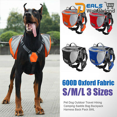 Pet Dog Travel Hiking Camping Outdoor Saddle Bag Backpack Harness Back Pack SML