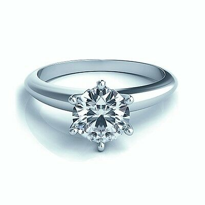 RRP£2000 White Gold 0.55Ct Round Diamond Solitaire Engagement Ring