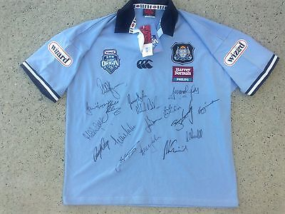 SIGNED 2003 NSW BLUES -  fully sponsored state origin rugby league jersey XL