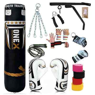Boxing Punch Bag 5Ft Set 17 Pc Gloves Bracket Chains MMA Pad High Quality Best