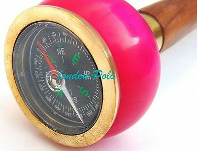 walking stick vintage nautical designe pink colur campass handle cane