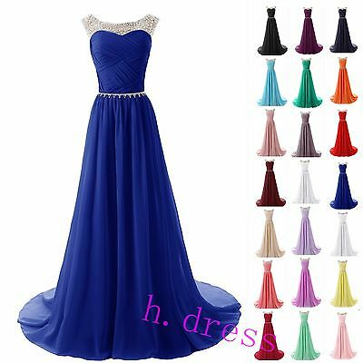 Long Chiffon Beaded Bridesmaid Formal Ball Gown Party Evening Prom Maxi Dress