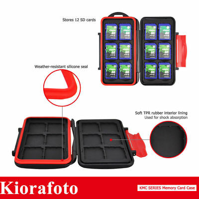 KIORA Water-Resistant Memory Card Case Protector Holder fr 12SD Cards Storage NY
