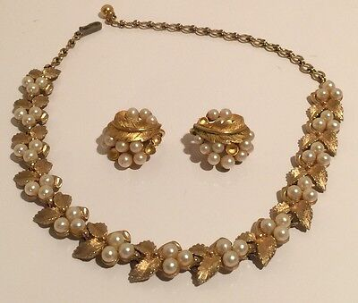 Vintage Crown Trifari Gold-Tone Leaf Faux Pearl Earrings Stamped & Necklace
