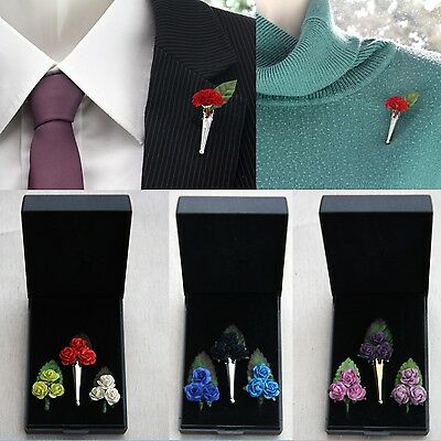 """Poirot"" Brooch*Lapel Pin Vase Posy Holder. Rose Gift Set*Buttonhole*Boutonniere"