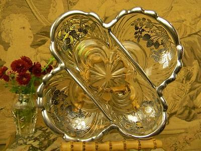 Superb, Antique Cambridge Glass Candy/Relish Dish w/Silver City Sterling Overlay