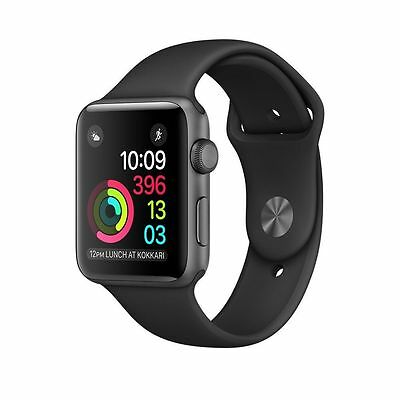 APPLE Watch Series1, 42 mm Aluminiumgehäuse, Space Grau, Sportarmband, Schwarz