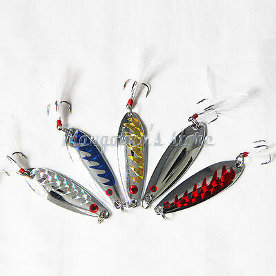 5PCS Metal Fishing Lure Spoon Bait Quality Fishing Lures Artificial Dragon Scale