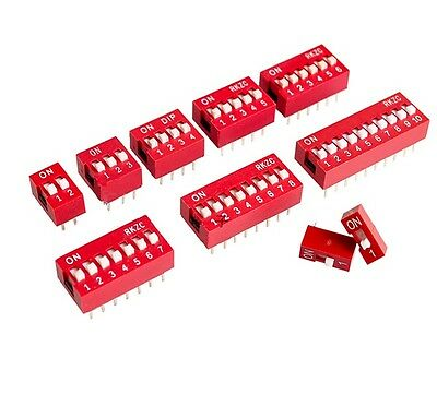 10Pcs Red 2.54mm Pitch Switch Ways Slide Type DIP 1 2 3 4 5 6 7 8 9 10 12 Bits