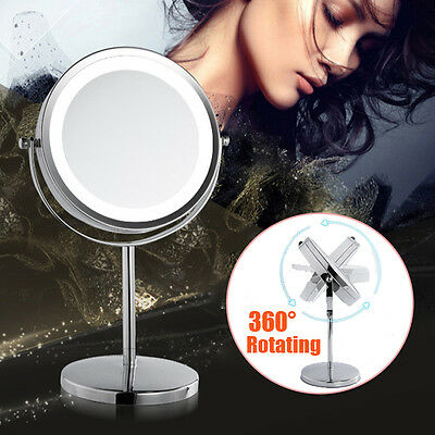 Beauty Makeup Cosmetic 5X Magnifying Stand Mirror with LED Lights Double Side