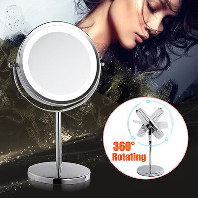 New Beauty Makeup Cosmetic 5X Magnifying Stand Mirror with LED Lights Dual Side