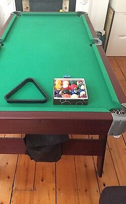 6ft Pool/snooker table, mahogany effect with dark green cloth
