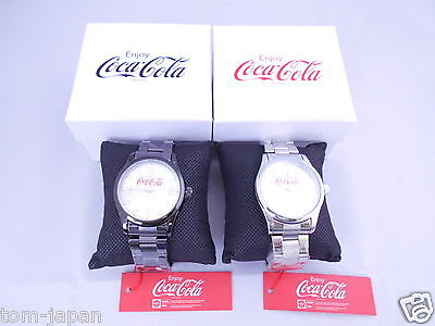Set of 2 COCA COLA Watch Coke Watch Silver Black Japan Limited from Japan F/S