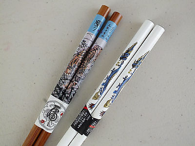 2 Japanese Tiger Dragon Blue White Chopsticks Hair Stick Chinese New Year Party