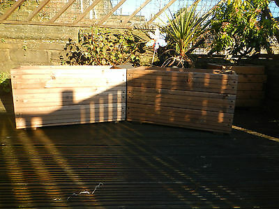 2x decking style wooden garden planters plant pots