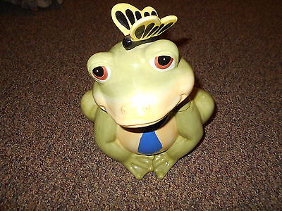 "Modern 14"" Tall Frog Cookie Jar w Butterfly on Nose"