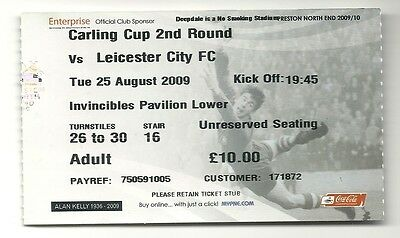 PRESTON NORTH END v LEICESTER CITY  25.08.09 CARLING CUP USED TICKET STUB