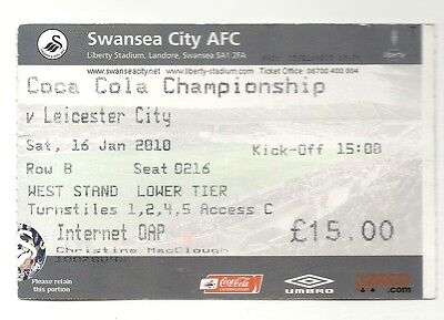 SWANSEA CITY v LEICESTER CITY 16.01.10 CHAMPIONSHIP USED TICKET STUB