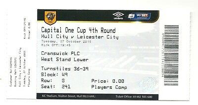 HULL CITY v LEICESTER CITY  27.10.15 CARLING CUP USED TICKET STUB