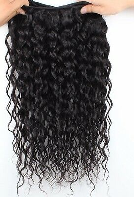 100% 300G Brazilian WATER WAVE CURLY Virgin Human Hair Weave Extensions A* 8-28""