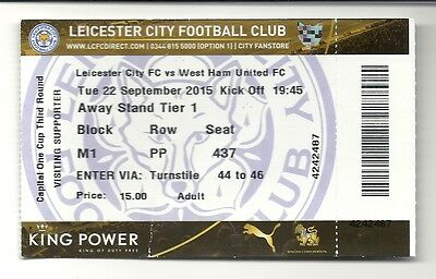 LEICESTER CITY v WEST HAM UNITED 22.09.15 CARLING CUP USED TICKET STUB