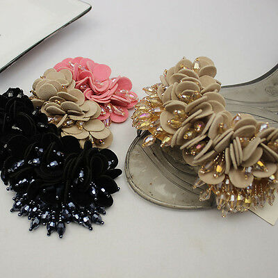 2pcs x Black Or Khaki Flip Flop Flower Beaded Fashion Shoe Clips