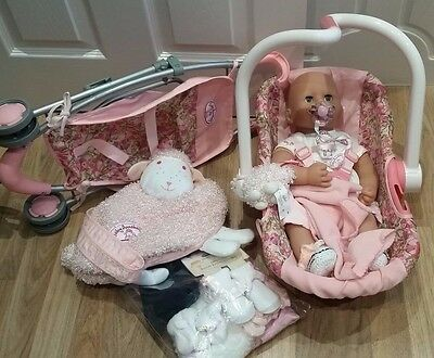 Beautiful Baby Annabell Bundle Seat, Stroller, Clothes, Changing Bag by Zapf