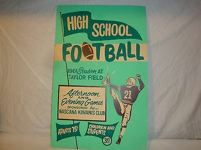 Saskatchewan Roughriders Taylor Field 1961 Highschool Football Poster