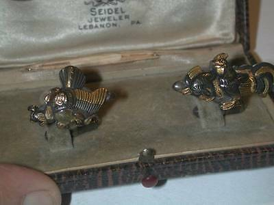 Antique Japanese Shakudo Sterling Mix Metal Cufflinks Hen & Rooster