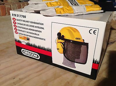 Oregon Safety Helmet, Visor and Ear Protectors Combo AND Chainsaw Gloves