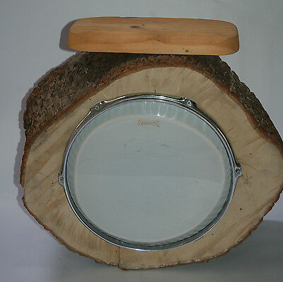 Panoramic Seated Tribal Drum Made From Hollowed Tree Trunk Rustic Wood Unusual