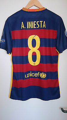 Fc Barcelona 2015 2016 CL Home SS Iniesta match worn and washed Messi Neymar
