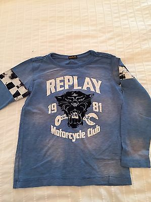 Replay Blue Boys Long-Sleeved Tee Size 6-7 Years