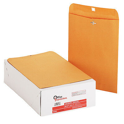 "Office Impressions Clasp Envelopes 9"" x 12"" Kraft 200ct, OFF 82302"