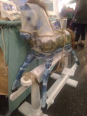 Fowey Water Horse Beautiful painted Rocking Horse. By Lindsey Keates Tidalmarks.
