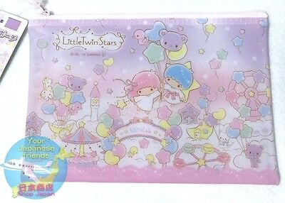 SANRIO Little Twin Stars KAWAII Vinyl Pouch Zipper Bag Cosmetic Case AIR JAPAN