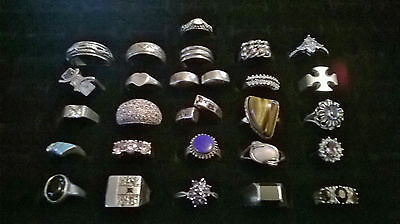 Silver 925 Job Lot Of 26 Rings