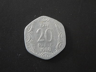 1988 India 20 Paise Coin Unc Asoka Lion #3/6