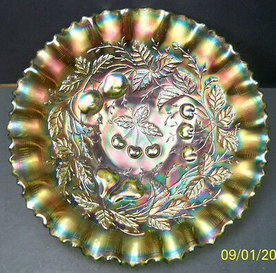 Northwood Green Three Fruits Carnival Glass PCE Bowl~Super Color & Perfect