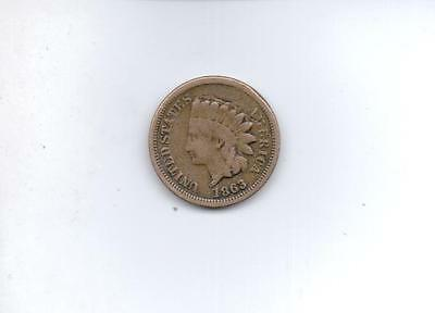 1863 1 Cent Usa Coin, Indian's Head Good Condtion.